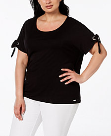 Calvin Klein Plus Size Grommet-Tie Sleeve T-Shirt