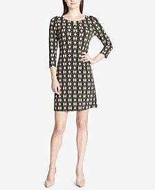 Calvin Klein Printed 3/4-Sleeve Sheath Dress