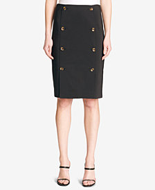 Calvin Klein Double-Button Pencil Skirt