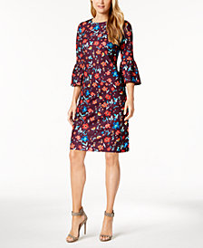 Calvin Klein Petite Printed Bell-Sleeve Sheath Dress
