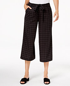 Maison Jules Checked Wide-Leg Cropped Pants, Created for Macy's