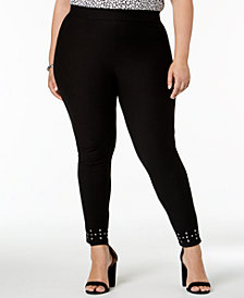 MICHAEL Michael Kors Plus Size Studded-Ankle Leggings