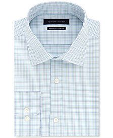 Tommy Hilfiger Men's Fitted Stretch Flex Collar Blue & Green Check Dress Shirt