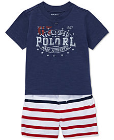 Polo Ralph Lauren Baby Boys Cotton Jersey Henley Shirt & Striped Shorts Set