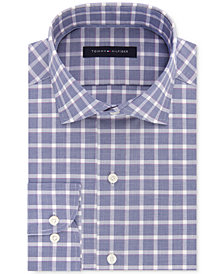Tommy Hilfiger Men's Classic/Regular Fit Non-Iron Performance Stretch Navy Check Dress Shirt, Created for Macy's