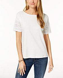 Tommy Hilfiger Cotton Mixed-Media T-Shirt, Created for Macy's