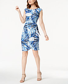 Jessica Howard Palm-Print Side-Tie Dress, Regular & Petite Sizes
