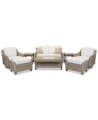 Willough Outdoor 8-Pc. Set (1 Loveseat, 2 Swivel Gliders, 1 Coffee Table, 2 Ottomans & 2 End Tables), Created for Macy's