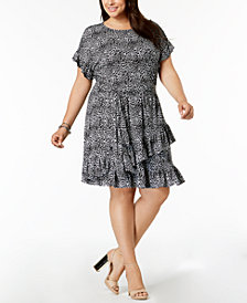 MICHAEL Michael Kors Plus Size Leopard-Print Ruffled Dress