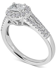 Diamond East West Oval Engagement Ring (3/4 ct. t.w.) in 14k White Gold