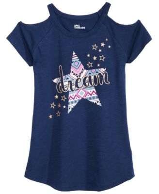 Big Girls Cold Shoulder T-Shirt, Created for Macy's