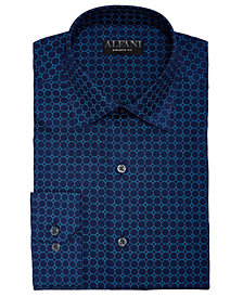 AlfaTech by Alfani Men's Athletic Fit Performance Stretch Circle Web Print Dress Shirt, Created For Macy's