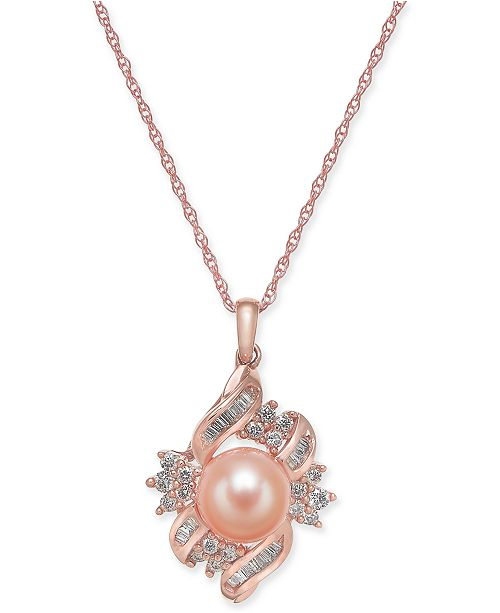 """Macy's Pink Cultured Freshwater Pearl (8mm) & Diamond (3/8 ct. t.w.) 18"""" Pendant Necklace in 14k Rose Gold"""