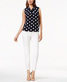 Tommy Hilfiger Dot-Print Shell & Slim-Leg Ankle Pants