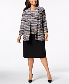 Kasper Plus Size Printed Open-Front Cardigan, Printed Shell & Skimmer Skirt