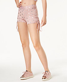 Material Girl Active Juniors' Metallic-Print Ruched Shorts, Created for Macy's