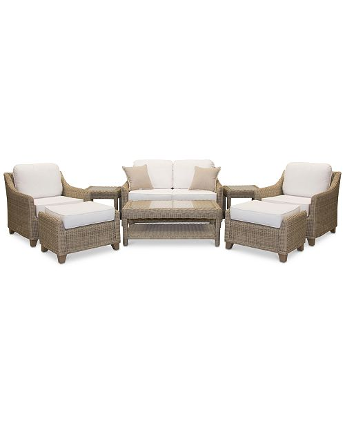 Amazing Willough Outdoor 8 Pc Set 1 Loveseat 2 Club Chairs 1 Coffee Table 2 Ottomans 2 End Tables Created For Macys Creativecarmelina Interior Chair Design Creativecarmelinacom