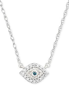 "Diamond Accent Evil Eye Pendant Necklace in Sterling Silver, 15"" + 1"" extender, Created for Macy's"
