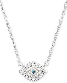 "Elsie May Diamond Accent Evil Eye Pendant Necklace in Sterling Silver, 15"" + 1"" extender, Created for Macy's"