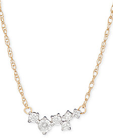 "Elsie May Diamond Random Cluster Collar Necklace (1/8 ct. t.w.) in 14k Gold, 15"" + 1"" extender"