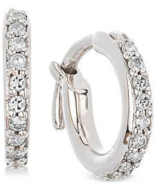 Elsie May Diamond Hoop Earrings (1/6 ct. t.w.) in Sterling Silver, Created for Macy's