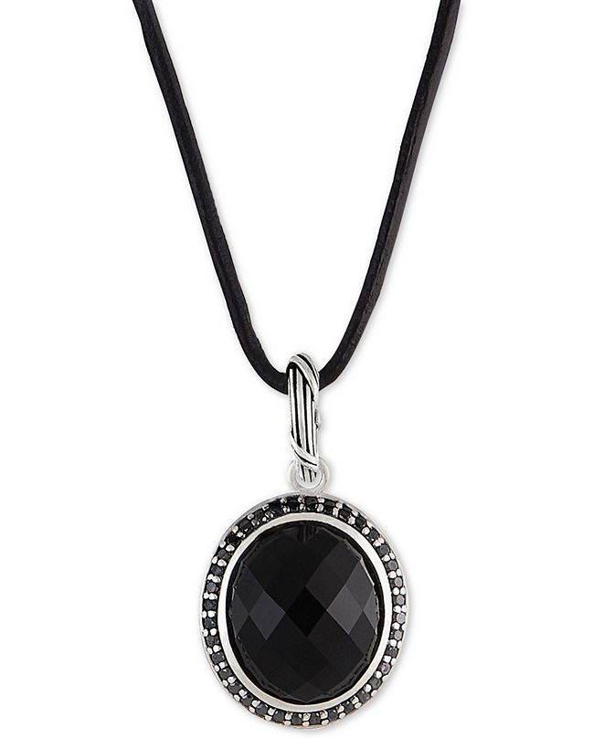 "Peter Thomas Roth Onyx (8-5/8 ct. t.w.) & Black Spinnel Leather Cord 20"" Pendant Necklace in Sterling Silver"