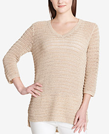 Calvin Klein Open-Knit 3/4-Sleeve Sweater