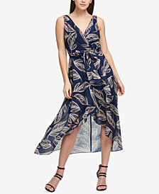 DKNY Textured Chiffon Wrap Dress, Created for Macy's