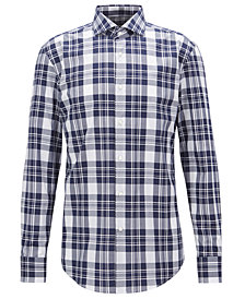 BOSS Men's Slim-Fit Plaid Cotton Shirt