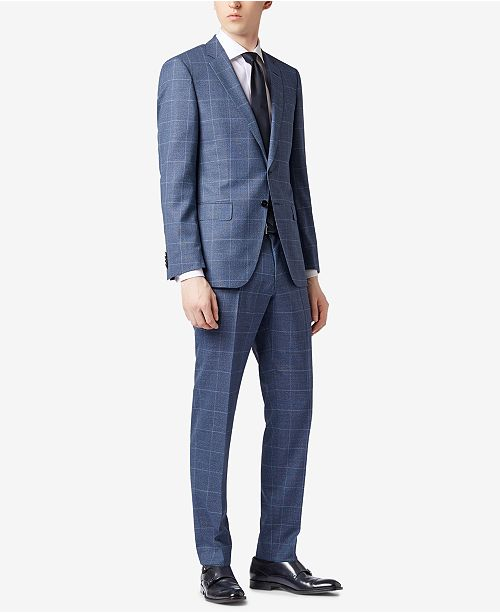 0f7822c8 Hugo Boss BOSS Men's Slim-Fit Checked Virgin Wool Suit & Reviews ...