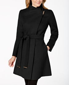 Michael Michael Kors Petite Asymmetrical Belted Coat, Created for Macy's