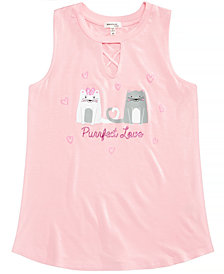 Monteau Big Girls Keyhole Cat Sleeveless T-Shirt