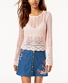One Hart Juniors' Bell-Sleeved Crochet Cropped Sweater, Created for Macy's