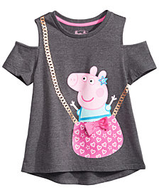 Peppa Pig Little Girls Cold Shoulder Purse T-Shirt