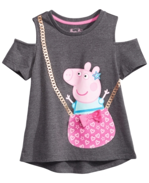 Peppa Pig Little Girls Cold Shoulder Purse TShirt