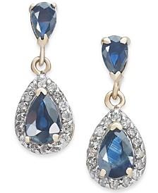 Sapphire (1-5/8 ct. t.w.) & Diamond (1/4 ct. t.w.) Drop Earrings in 14k Gold