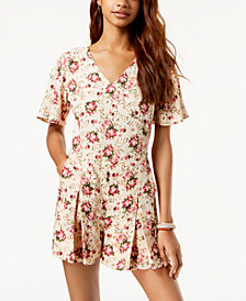 One Hart Juniors' Floral-Print Romper, Created for Macy's