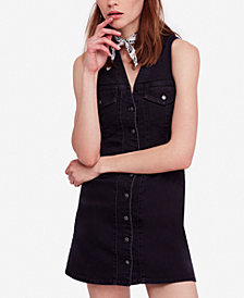 Free People Wandering Star Denim Mini Dress