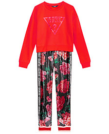 GUESS Big Girls Cropped Sweatshirt & Sequin Jogger Pants