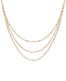 "Polished Link Multi-Layer 18"" Statement Necklace in 14k Gold"