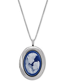 "Mother & Infant Cameo Locket 18"" Pendant Necklace in Sterling Silver"