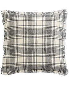 "Oxford Collection Frayed Plaid 22"" Square Decorative Pillow, Created for Macy's"