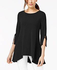 Alfani Asymmetrical Tie-Sleeve Swing Top, Created for Macy's