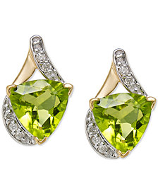 Peridot (4 ct. t.w.) & Diamond (1/8 ct. t.w.) Stud Earrings in 14k Gold