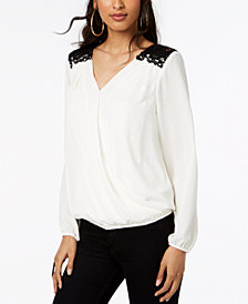 Thalia Sodi Lace-Trim Surplice Top, Created for Macy's