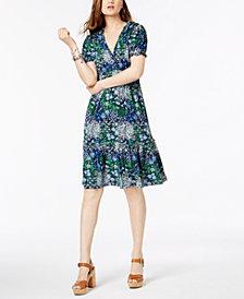 MICHAEL Michael Kors Printed Ruffled Tiered Dress In Regular & Petite Sizes