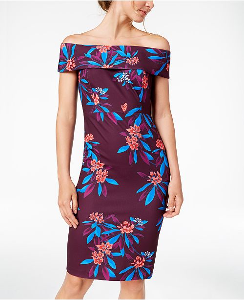 c8b467c49e31 Calvin Klein Floral-Print Off-The-Shoulder Scuba Midi Dress ...