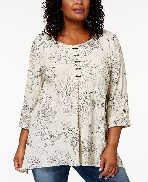 8d3654a6159af6 JM Collection Plus-Size Printed Pleated Top, Created for Macy's ...