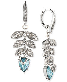 Jenny Packham Silver-Tone Crystal & Stone Leaf Drop Earrings