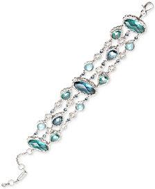 Jenny Packham Silver-Tone Pavé & Stone Triple-Row Flex Bracelet